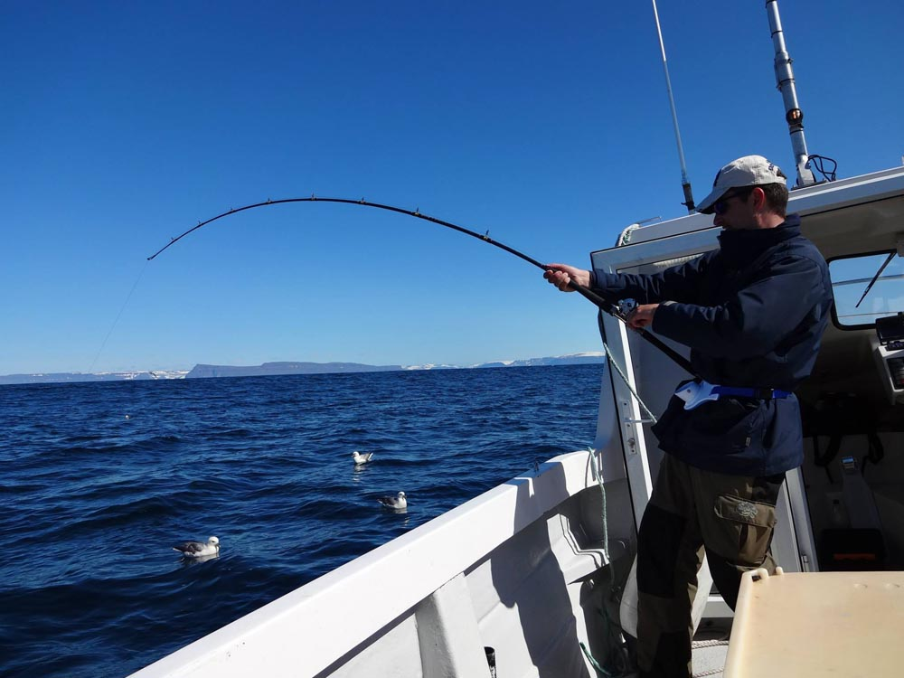 Fisherman at sea with something huge caught on his pole