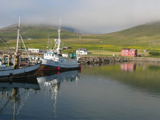 Súðavík seen by the harbour with boats lying by the dock